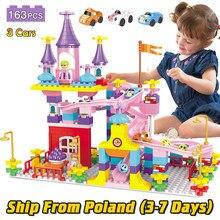 163 peças de mármore correr corrediça blocos de construção compatível duploed castelo crianças brinquedos blocos com figuras carros brinquedos para crianças meninas