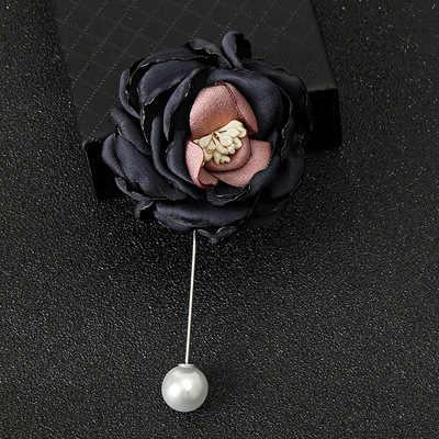 패션 1PC 수제 천으로 레이스 합금 시뮬레이션 진주 꽃 라인 석 화려한 브로치 카디건 스웨터 크리스탈 브로치
