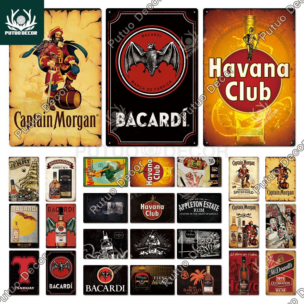 Винтажные металлические знаки Putuo Decor Rum, оловянные знаки, Капитан Морган, забавный постер, декор для бара, паба, клуба, мужская пещера, настен...
