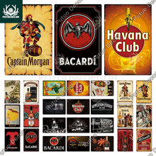 Putuo Decor Rum Brand Vintage Metal Signs Tin Signs Captain Morgan Funny Poster Decor for Bar Pub Club Man Cave Wall Decoration