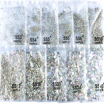 Crystal AB Super Glitter Rhinestones SS3-SS50 Non Hot Fix FlatBack Strass Sewing&Fabric Garment Nail Art Rhinestones Decorations new 1340pcs pack mixed ss4 ss16 nail rhinestones crystal colorful ab nail art decorations non hot fix flatback glass stone gems