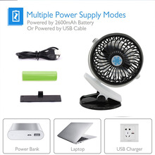 Fan Rechargeable Mini for Home Office 360-Degree Air-Fan Desktop-Clip Cooling Usb-Charging