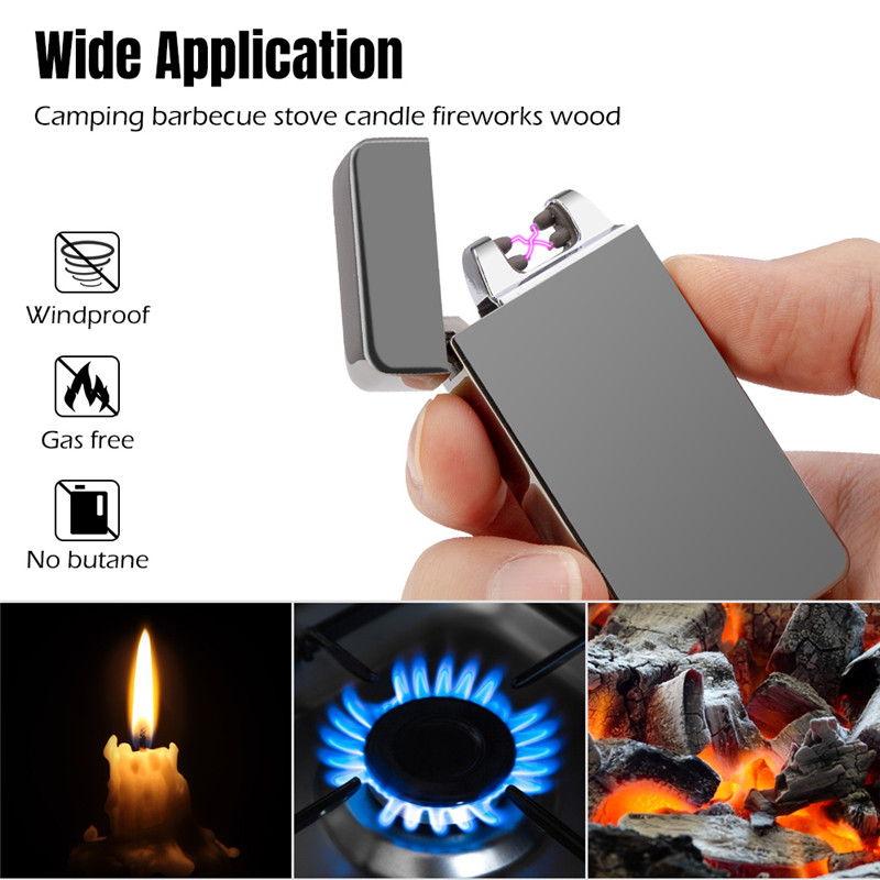Windproof Dual Arc Lighter Plasma Flameless Rechargeable Electric Lighter