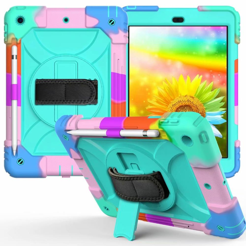For iPad 7th Generation Case 360 Rotating Stand Hand Strap Pencil Holder Cover For iPad 10