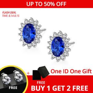 CZCITY Stud-Earrings Birthstone Fine-Jewelry Topaz Royal-Blue 925-Sterling-Silver Solid