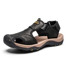 Мужские сандалии из натуральной кожи, летние повседневные пляжные сандалии в римском стиле, 2019