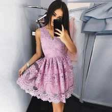 Homecoming-Dresses Short Tulle Party Lace V-Neck Sleeveless Mini A-Line Appliques
