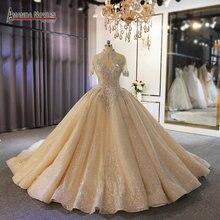 יוקרה מלא כבד ואגלי כלה שמלת כלה מותאם אישית להזמין עם ארוך רכבת דובאי חתונות