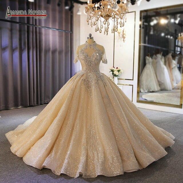 Luxury full heavy beading bridal wedding dress custom order with long train dubai weddings