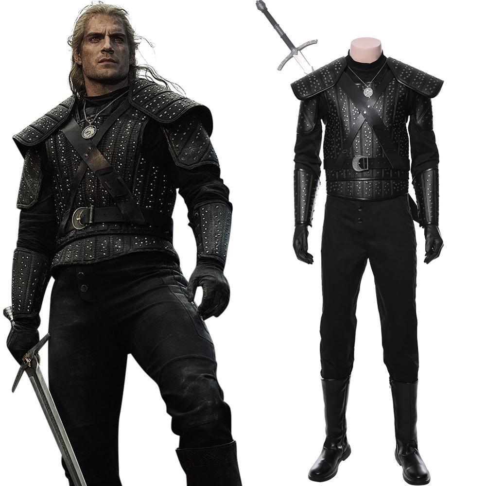 Geralt Cosplay Kostüm erwachsene frauen männer Hexer Leder rüstung Full Set Halloween Karneval Kostüm Nach Maß