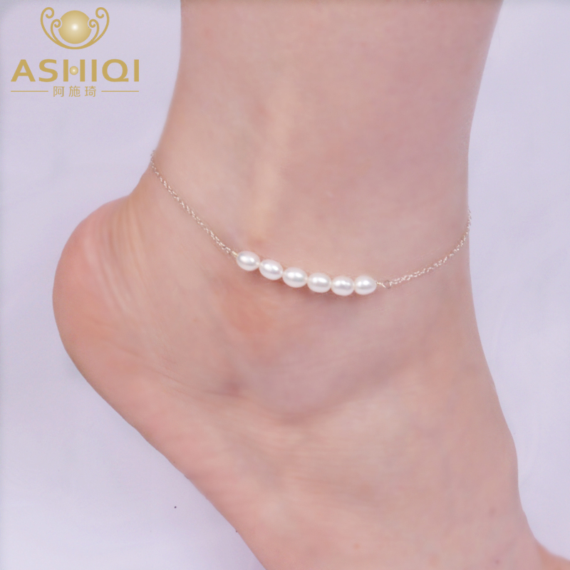 ASHIQI Real 925 Sterling Silver Anklets for Women with Natural Freshwater Pearl Jewelry for Foot Gift