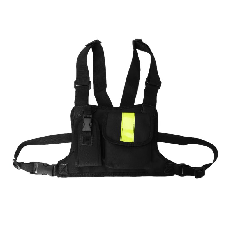 Universal Portable Green Reflective Single Or Double Walkie-talkie High-grade Tactical Chest Bag  LX9A