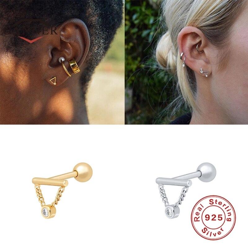 CANNER 925 Sterling Silver Stud Earrings for Women Cute Butterfly Lightning Piercing Earring Thread Earings Jewelry pendientes