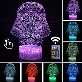 Star Wars Darth Vader Anime Figure Acrylic 3D Illusion LED Lamp Colourful NightLight Death Star Mask Yoda Model Toys Child Gift 25