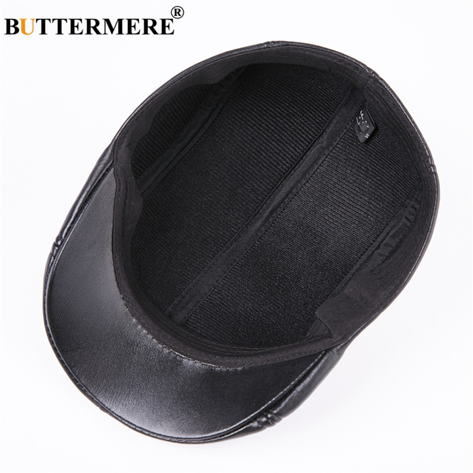 BUTTERMERE Men Flat Berets Cap Real Leather Casual Vintage Sheepskin Gatsby Cap Winter Warm British Classic Duckbill Hat And Cap in Men 39 s Berets from Apparel Accessories