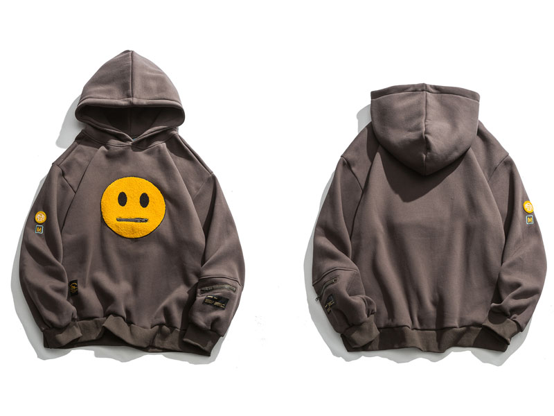 GONTHWID Zipper Pocket Smile Face Patchwork Fleece Hoodies Sweatshirts Streetwear Mens Hip Hop Casual Pullover Hooded Male Tops