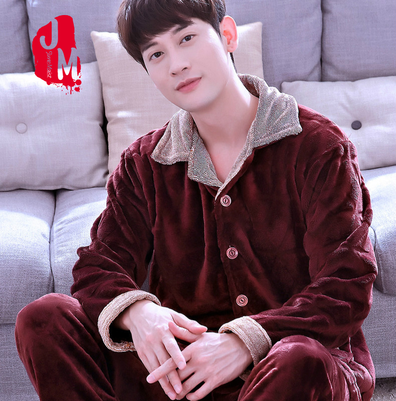 Winter Pajamas Warm Suit Clothing Sleepwear Flannel Home For Men Thick 2pcs Casual XL