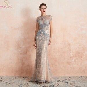 Image 1 - Champagne gris lujo sirena con cuentas de cristal vestidos de noche 2019 nuevo azul marino cuello redondo mangas cortas Formal vestidos largos de fiesta
