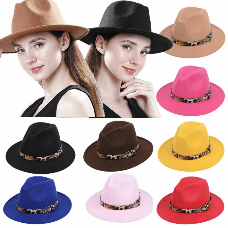 Jazz Hat Fedora-Hat Leopard Classic Womens Autumn Lady Winter for Imitation Streetwear title=