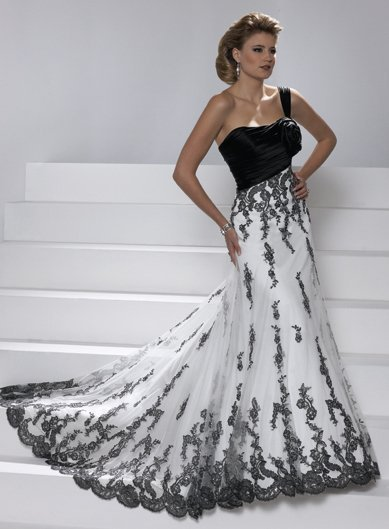 Free Shipping Fashion Cheap One Shoulder Flower Lace Appliques Black And White Bridal Gown 2018 Mother Of The Bride Dresses