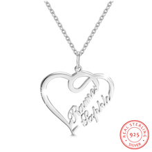 Personalized 925 Sterling Sliver Name Necklaces Hollow Heart Pendant Engraved Anniversary Jewelry Simple Promised Gift for Women