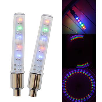 2 kolorowy zawór światła rowerowe światła z baterii zaworu opony CapsLed światła światła rowerowe Mountain Road światła rowerowe tanie i dobre opinie Wheel Valve Cap Light Zaworu opony czapki PV ABS White Multicolor 6*button battery (included)