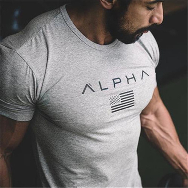 LUSLOS 2019 New Brand Clothing Gyms Tight Cotton T-shirt Mens Alpha Fitness T-shirt Homme Summer Graphic Tees Tops