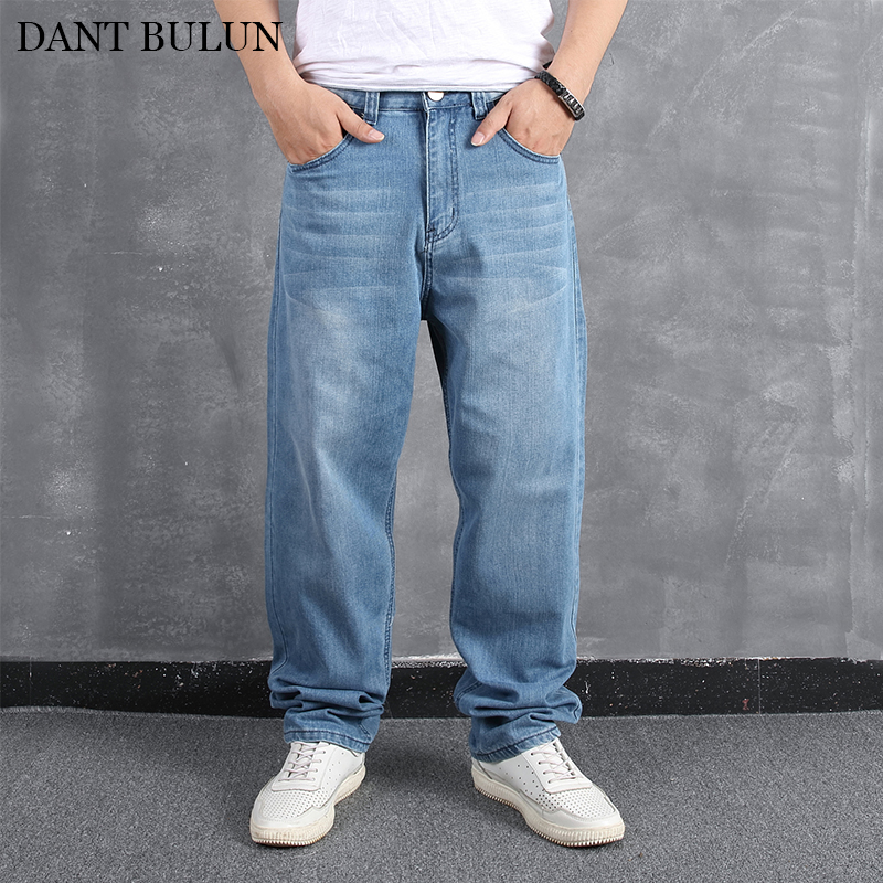 Mens Big And Tall Classical Loose Straight Jeans Wide Leg Jeans For Male Casual Cotton Denim Soft Trousers Plus Size Hip Hop