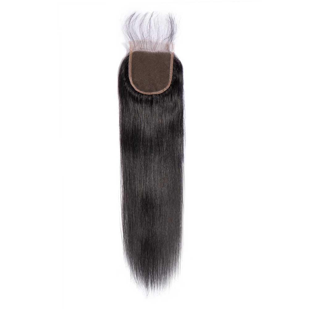Eseewigs Women's Toupee Silk Straight Lace Closure Free Part 4x4  Toupee For Women Virgin Human Hair Swiss Lace Closure Toupee