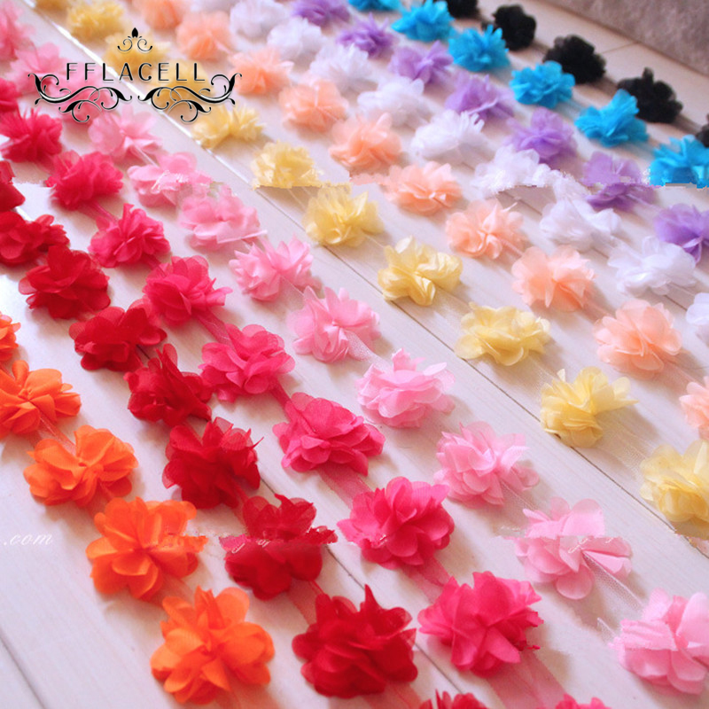 12pcs flowers 3D Chiffon Cluster Flowers Lace Dress Decoration Lace Fabric Applique Trimming Sewing Supplies(China)