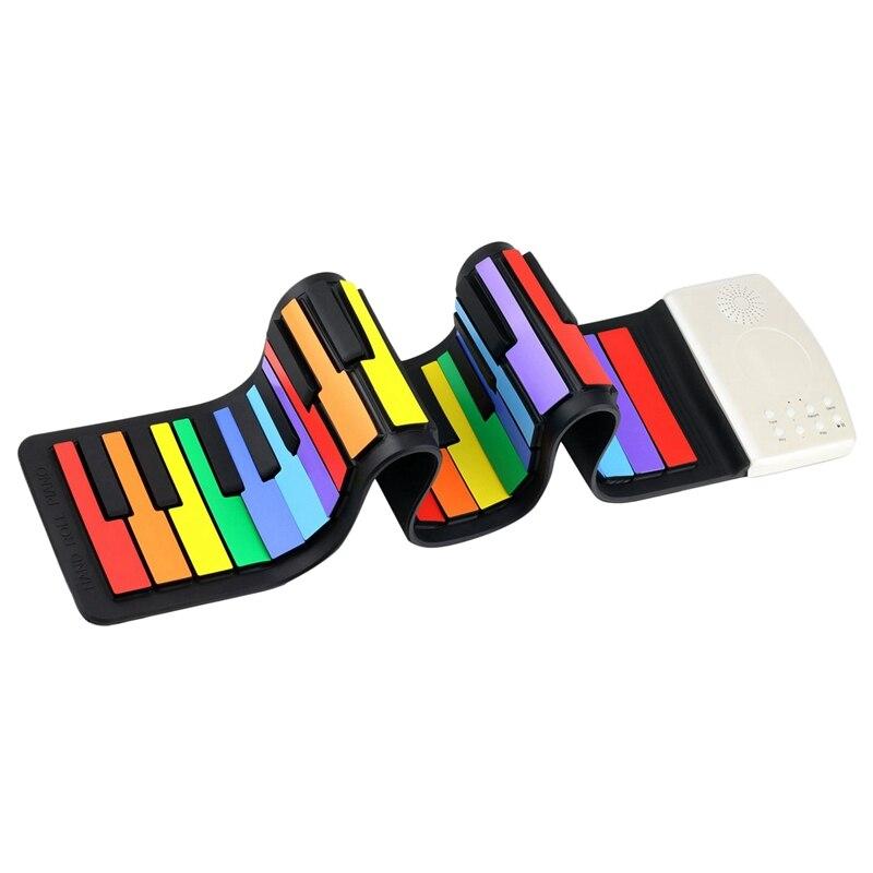 Color 49 teclas estándar Teclado de Piano Flexible para niños teclado enrollable Flexible Piano batería de litio incorporada completamente portátil