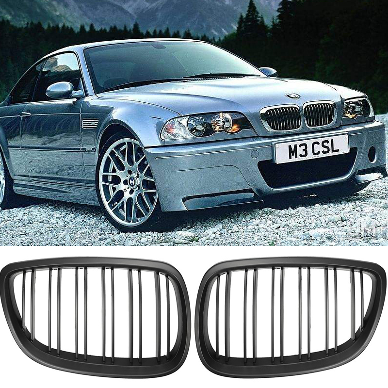 2pcs For <font><b>BMW</b></font> <font><b>E60</b></font> E61 <font><b>5</b></font> <font><b>SERIES</b></font> 2003 04 05 06 07 08 2009 Front Kidney Grill For <font><b>BMW</b></font> Double Line Grille Black 2 Line Double Slat image