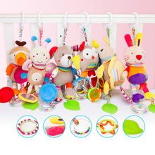 Cute Newborn Soft Plush Crib Stroller Baby Toys 0-12 Months Bed Stroller Cartoon Animal Hanging Rattle Doll Educational Toy Gift