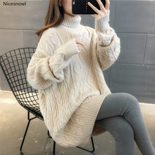 Turtleneck Loose Lazy Wind Long Sweater Women Long Sleeve Striped Jacquard Straight Knitted Sweater Women Female Spring Autumn(China)