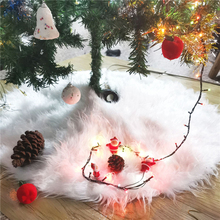 Christmas Tree Decor White Christmas Tree Skirt Faux Fur Plush Snowflake Xmas Tree Mat Carpet New Year Party Home Decor