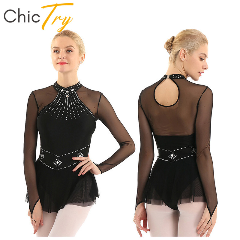 ChicTry Adult Shiny Rhinestone Mesh Long Sleeve Stage Dance Costume Ballet Gymnastics Leotard For Women Figure Ice Skating Dress