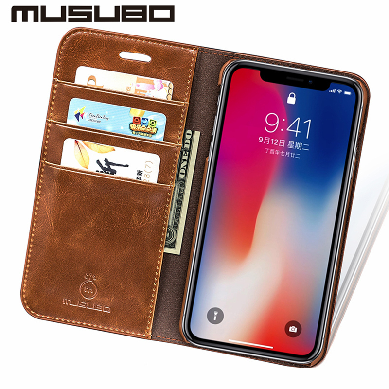 Musubo Luxury Leather Wallet Casing Cover for iPhone Xs Max X XR 7 - Ανταλλακτικά και αξεσουάρ κινητών τηλεφώνων - Φωτογραφία 3