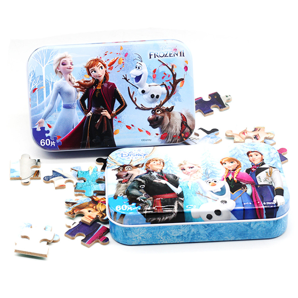 Frozen Avengers Film Snow White Jigsaw Puzzle Cartoon Wooden Puzzles Child Educational Toys Montessori Teaching Aids 60 Tablets image
