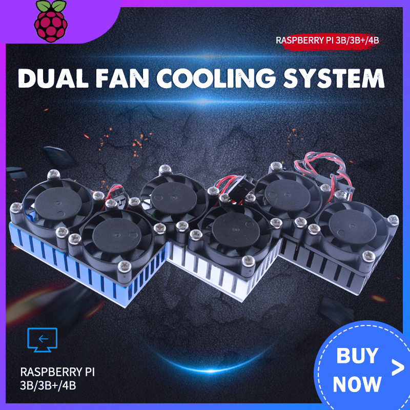 Raspberry Pi 3 Model B+ Dual Fan Cooling System Module Blue Slive Black Color With Heatsink For Pi3 B+ / NESPi Case