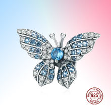 100% Стерлинговое Серебро 925 пробы кристалл Синий Циркон Бабочка