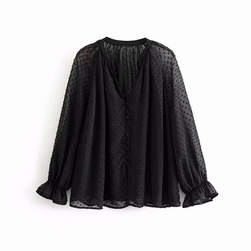 New Women Fashion V Neck Single Buckles Black Chiffon Shirt Blouses Women Lantern Sleeve Femininas Chemise Ruffles Shirts LS4052