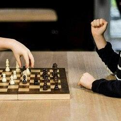 1day grande conjunto de xadrez dobrável de madeira magnética felted placa de jogo 39*39cm armazenamento interior adulto crianças presente da família jogo tabuleiro de xadrez