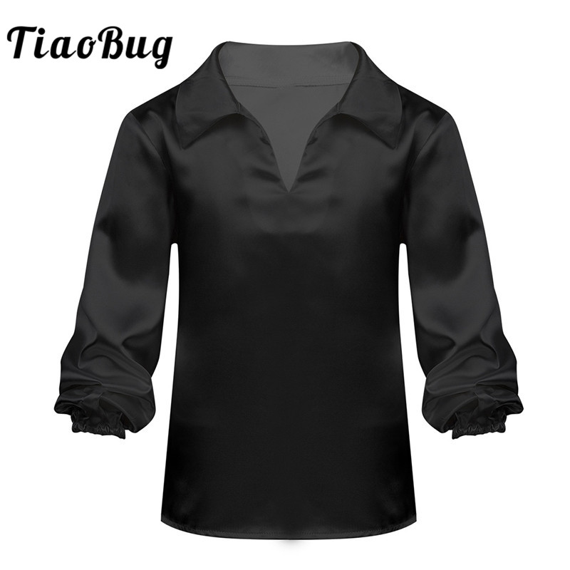 TiaoBug Kids Teens Satin Long Sleeves Black Or White Ballet Tops Jazz Latin Dance Shirt Stage Performance Boys Dancewear Costume