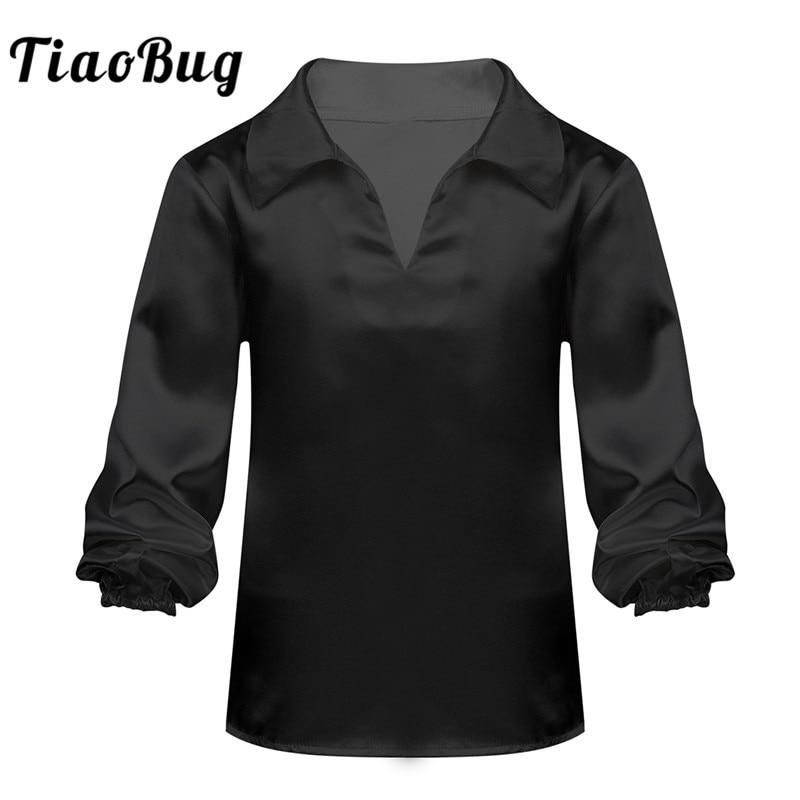 TiaoBug Kids Teens Satin Long Sleeves Black Or White Ballet Tops Jazz Latin Dance Shirt Stage Performance Boys Dancewear Costume