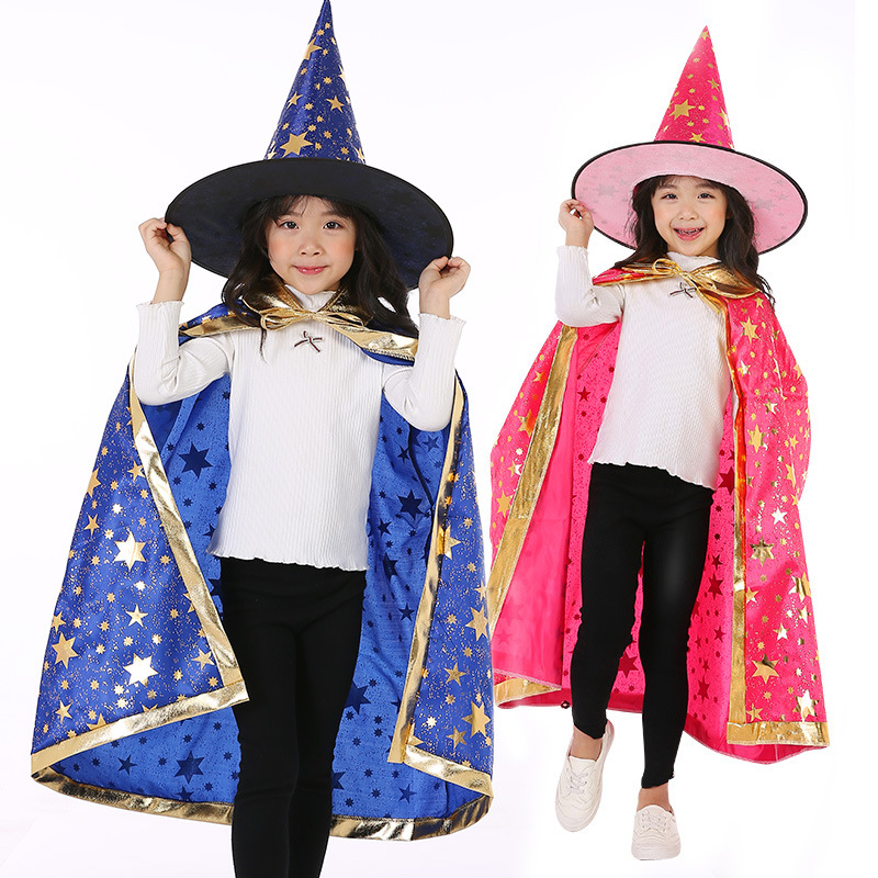 2Pcs/Set Witch Hats Set Children Halloween Christmas Party Cosplay Costume Wizard Star Cloak Cap Hat Kids Cosplay Props