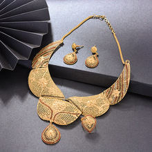 WANDO luxurious Gold Color Dubai Jewelry sets for women Wedding Jewelry set African bridal wedding gifts Arab necklace earrings top women christmas gifts flower shape bridal jewelry accessories gold necklace crystal earrings italian jewelry sets