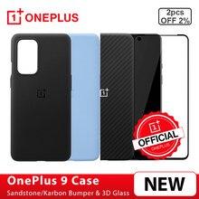 100% d'origine OnePlus Pour OnePlus 9 Grès Bamper Karbon Bamper Étui Étui De Protection 3D TREMPÉ Protecteur D'écran En Verre