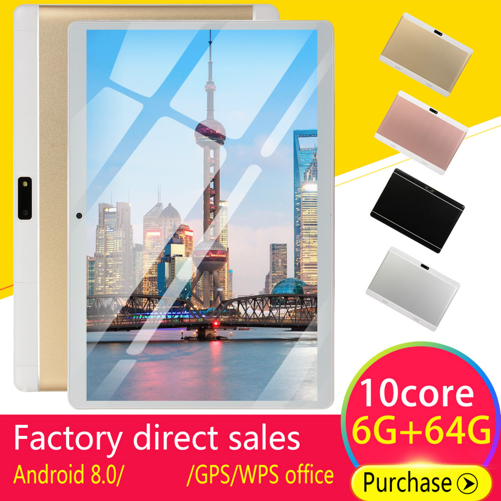 2020 WiFi Tablet  Screen 10\ Inch Ten Core 6G+64G Android8.0 Dual SIM Dual Camera Rear