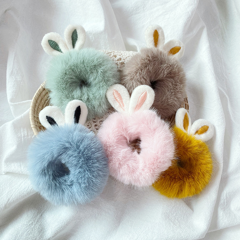 Candy Color Ears Hair Tie Girls Plush Hair Rope Headdress Women Ponytail Holder Elastic Hair Band Fashion Hair Accessories