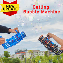 2021 New Outdoor Toy Gatling Bubble Machine Wedding Supplies Electric Sound And Light Automatic Bubble Blower Maker Gun Kids Toy
